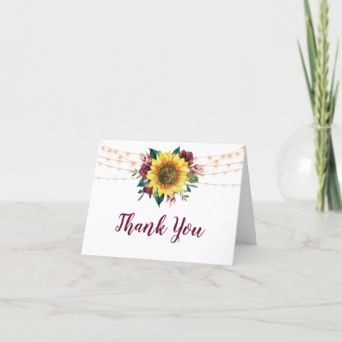 Rustic Sunflower Lights Floral Bridal Shower Thank You Card
