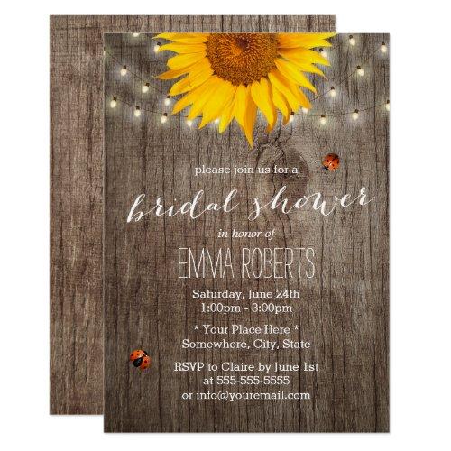 Rustic Sunflower String Lights Wood Bridal Shower Card