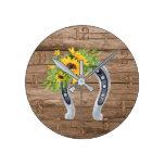 Rustic Sunflowers Horseshoe Charm Southern Living Round Clock