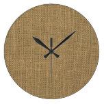 Rustic Tan Burlap Pattern Large Clock