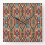 Rustic Taupe Red Orange Teal Ethnic Art Pattern Square Wall Clock
