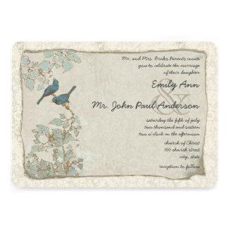 Rustic Teal Birds Damask Wedding Invitations