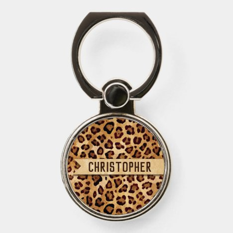Rustic Texture Leopard Print Add Name Phone Ring Stand