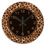 Rustic Texture Leopard Print Large Clock