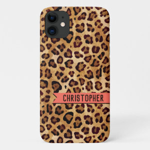 Rustic Texture Leopard Print Name Living Coral iPhone 11 Case