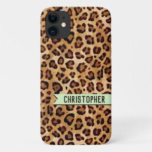Rustic Texture Leopard Print Name Mint Green iPhone 11 Case