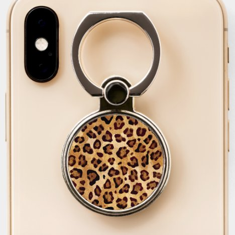 Rustic Texture Leopard Print Phone Ring Stand