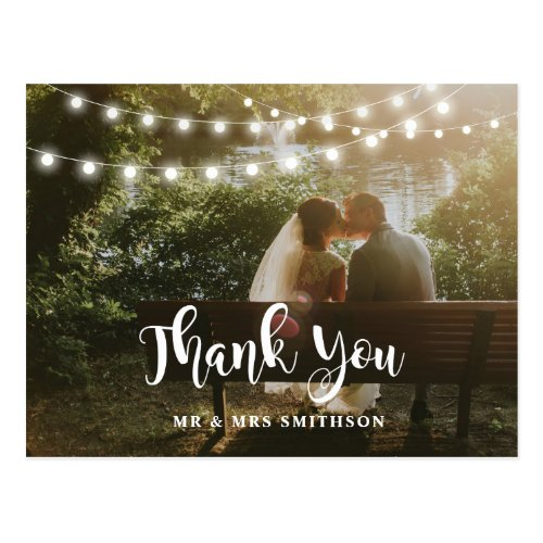 Rustic Thank You Photo String Lights Wedding Card