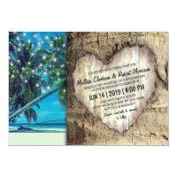 Rustic Tropical Beach Destination Wedding Card