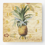Rustic Vintage Calligraphy Pineapple Ornate Square Wall Clock