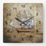 Rustic Vintage Ship Design with Knotted Rope Square Wall Clock