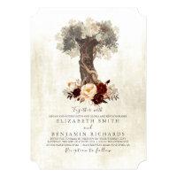Rustic Vintage Tree Burgundy Floral Wedding Card