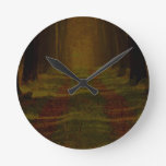 Rustic Vintage Wedding Favors Forest Trail Round Clock