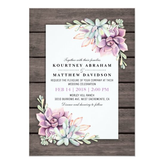 Rustic Watercolor Succulent Floral Wedding Invitation