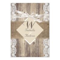 Rustic Wedding Beige White Lace Wood Burlap 2 5x7 Paper Invitation Card