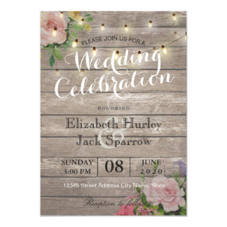 Rustic Wedding Invitation Fl Wood String Light