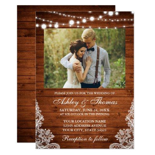 Rustic Wedding Wood Lights Lace Photo Invitation