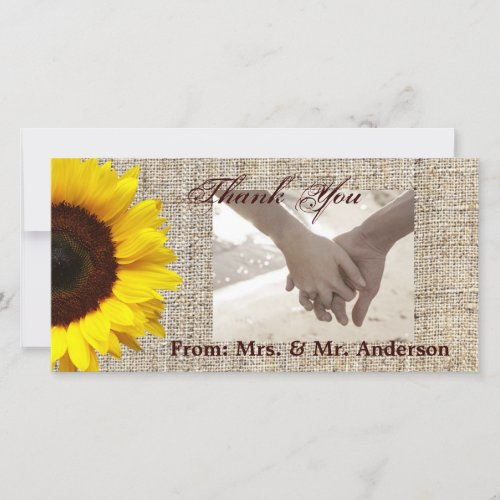Rustic Western Country Burlap Sunflower Wedding Thank You Card