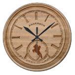 Rustic Western Cowboy Large Clock