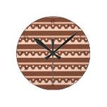 Rustic Western Tribal Pattern Round Clocks