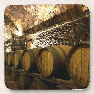 Rustic Wine Cellar with Barrels in Brown Coasters