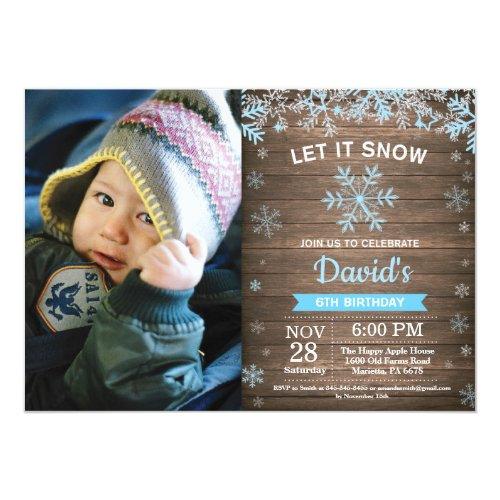 Rustic Winter Snowflake Blue Silver Boy Birthday Invitation