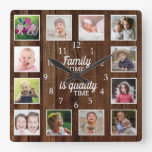 Rustic Wood 12 Photo Template Family Time Quote Square Wall Clock