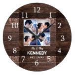 Rustic Wood 4 Photo Collage Wedding Anniversary Large Clock