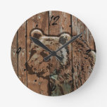 Rustic wood bear round wallclocks