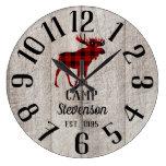 Rustic Wood Family Camp | Buffalo Plaid Moose Large Clock