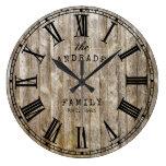 Rustic Wood Family Name Roman Numeral Farmhouse Large Clock