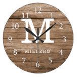 Rustic Wood Farmhouse Family Monogram Large Clock