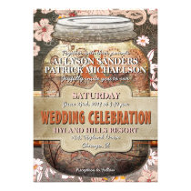 Rustic Wood & Floral Mason Jar Wedding Invitation