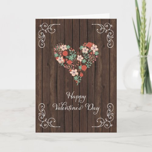 Rustic Wood Happy Valentine's Day Card