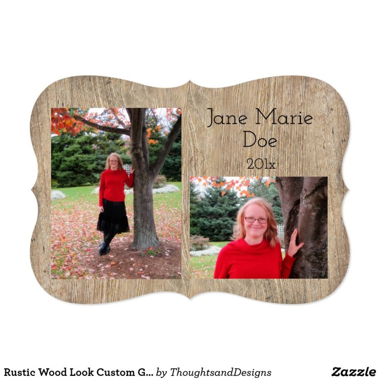 Rustic style graduation announcements that can be personalized rustic wood look custom graduation invitations filmwisefo