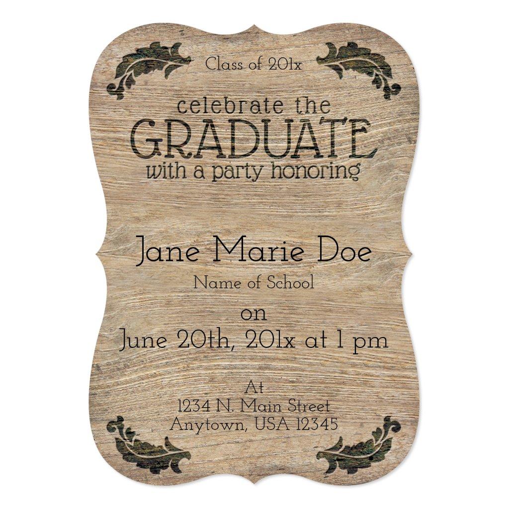 Rustic Wood Look Custom Graduation Invitations