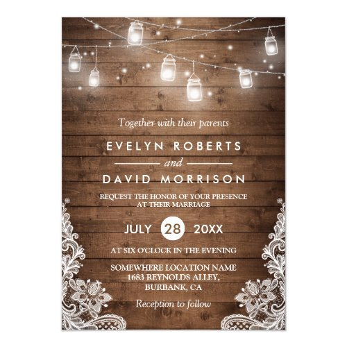 Rustic Wood Mason Jars String Lights Lace Wedding Invitation