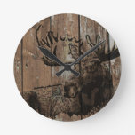 Rustic wood moose round clock
