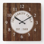 Rustic  Wood Pallet Family Name Square Wall Clock