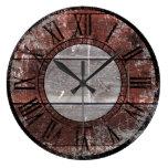 Rustic Wood (Red) Large Clock