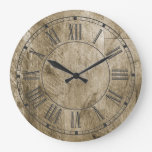 Rustic Wood Roman Numerals Country Farmhouse Large Clock