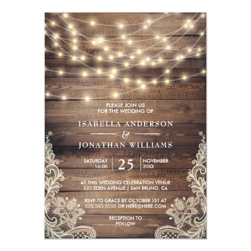 Rustic Wood &amp&#x3B; String Lights | Vintage Lace Wedding Invitation