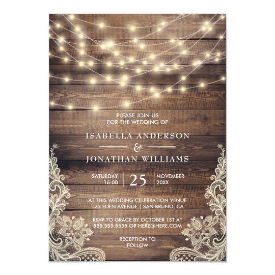 Rustic Wood String Lights Vintage Lace Wedding Invitation