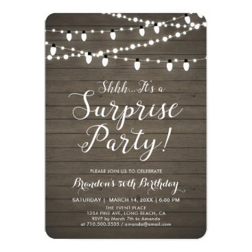 Rustic Wood Surprise 50th Adult Birthday Party Invitation