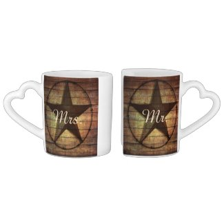 rustic wood texas star western wedding mr and mrs couples' coffee mug set