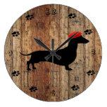 Rustic Wooden Dachshund Clock