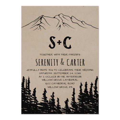 Rustic Woodsy Mountain Monogram Wedding Invitation