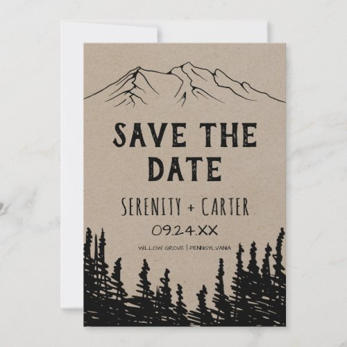 Rustic Woodsy Mountain Save the Date Card