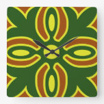 Rustic Yellow And Green Spanish Tile  Design Square Wall Clocks