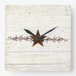 Rusty star and berries square wall clock